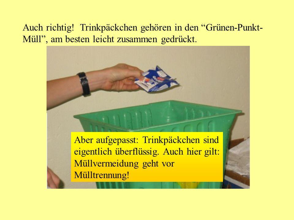 Auch richtig! Trinkpäckchen gehören in den Grünen-Punkt-Müll , am besten leicht zusammen gedrückt.