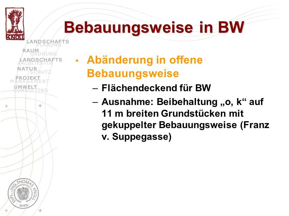 Bebauungsweise in BW Abänderung in offene Bebauungsweise