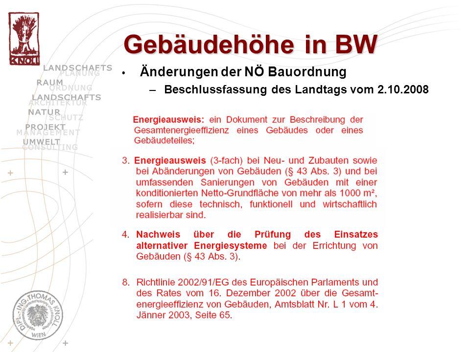 Gebäudehöhe in BW Änderungen der NÖ Bauordnung