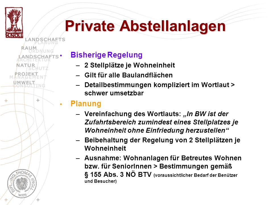 Private Abstellanlagen