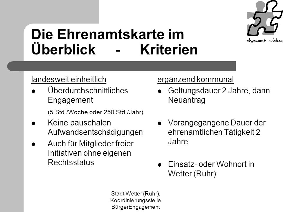 Die Ehrenamtskarte im Überblick - Kriterien