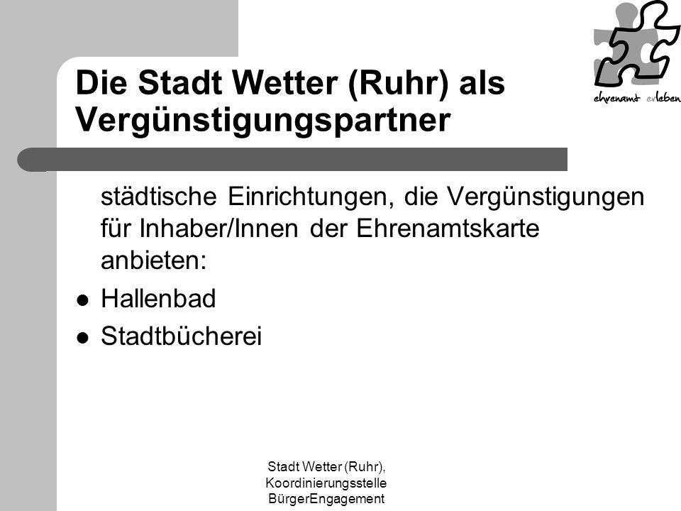 Die Stadt Wetter (Ruhr) als Vergünstigungspartner
