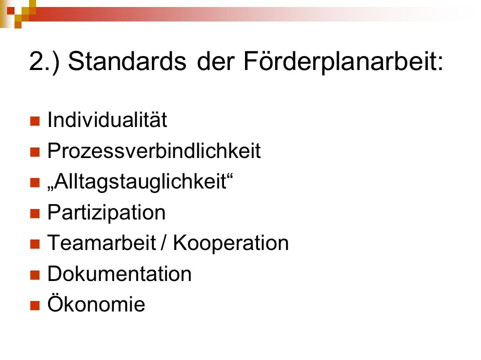 2.) Standards der Förderplanarbeit: