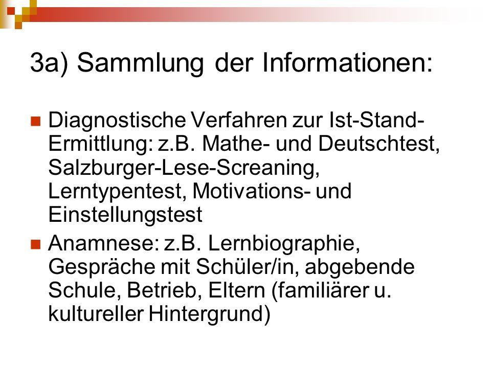3a) Sammlung der Informationen: