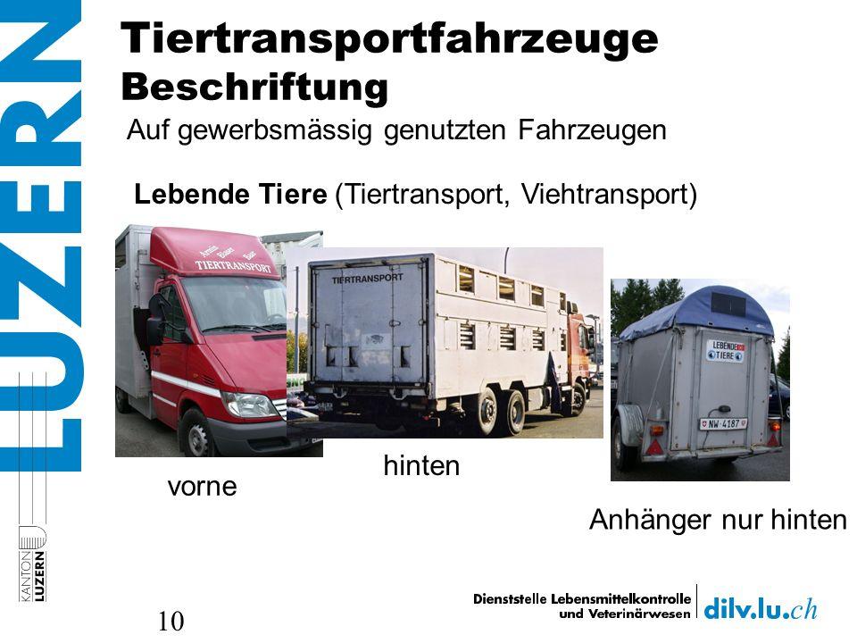 Tiertransportfahrzeuge Beschriftung