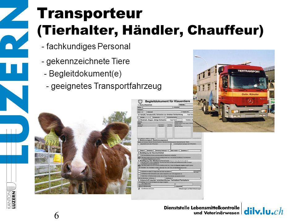 Transporteur (Tierhalter, Händler, Chauffeur)