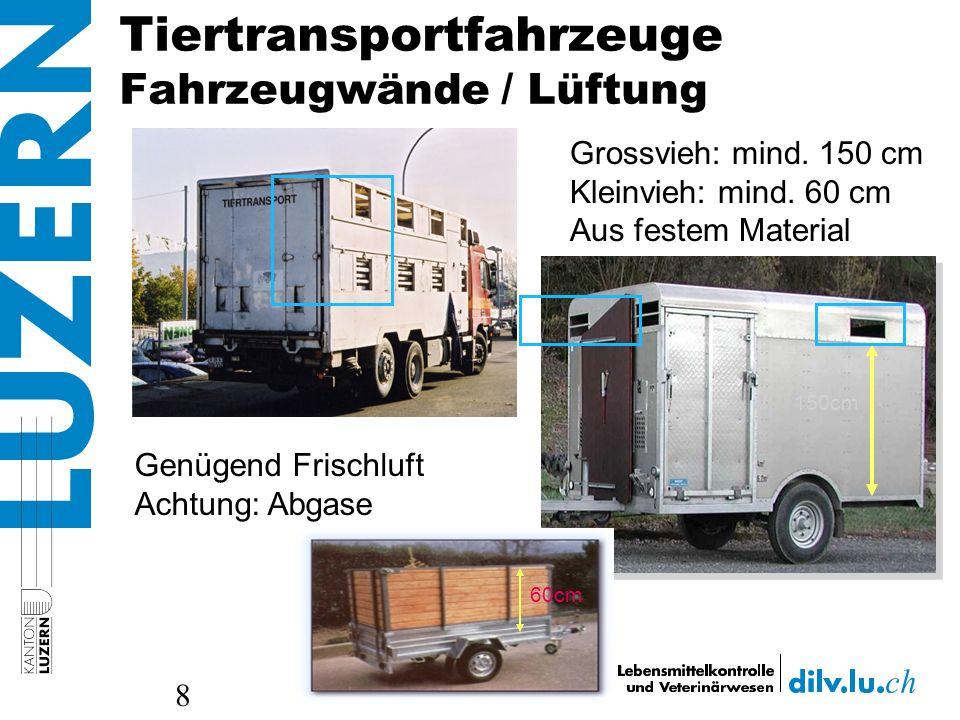 Tiertransportfahrzeuge Fahrzeugwände / Lüftung