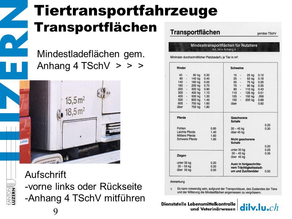 Tiertransportfahrzeuge Transportflächen