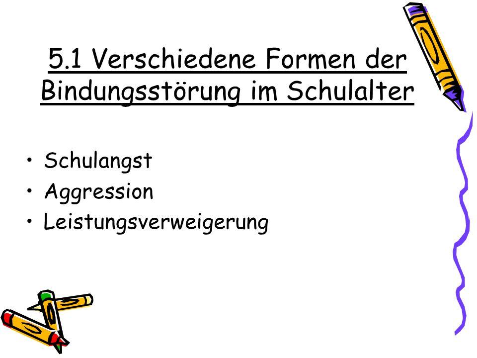 5.1 Verschiedene Formen der Bindungsstörung im Schulalter