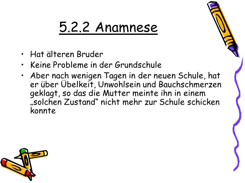 5.2.2 Anamnese Hat älteren Bruder Keine Probleme in der Grundschule