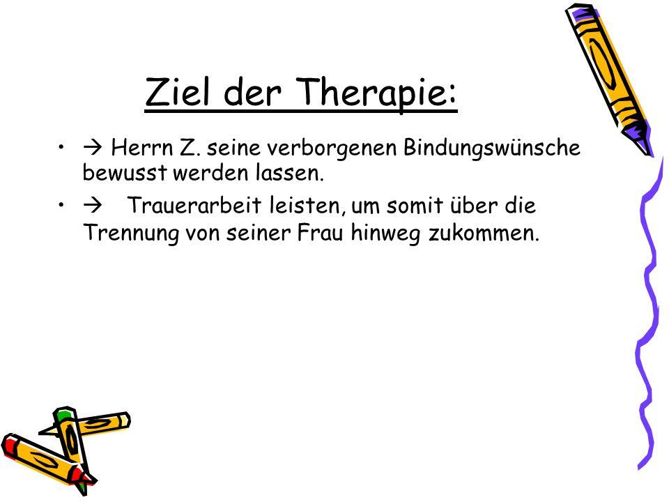 Ziel der Therapie:  Herrn Z. seine verborgenen Bindungswünsche bewusst werden lassen.