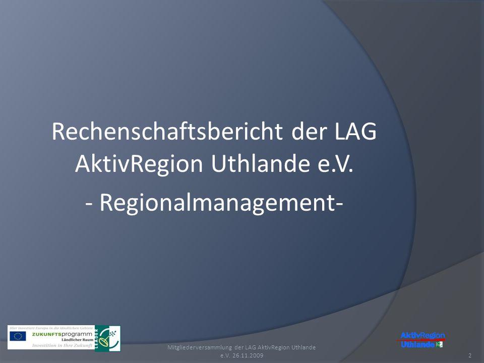 Rechenschaftsbericht der LAG AktivRegion Uthlande e.V.