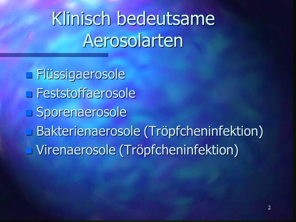 Klinisch bedeutsame Aerosolarten