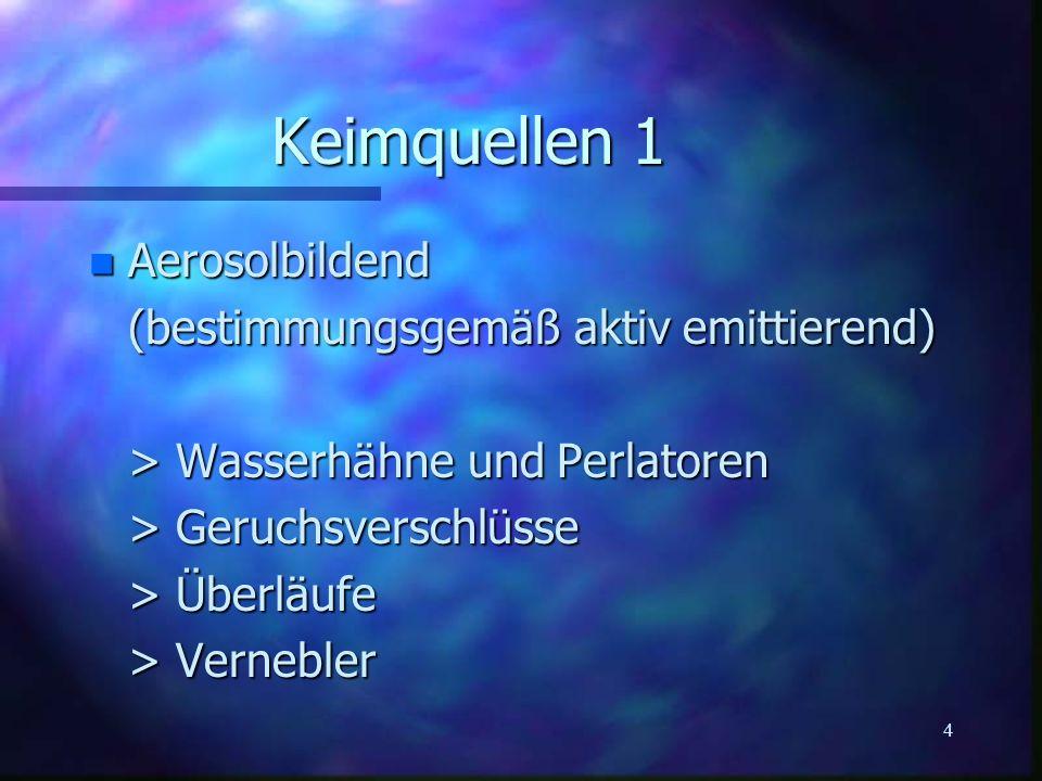 Keimquellen 1 Aerosolbildend (bestimmungsgemäß aktiv emittierend)