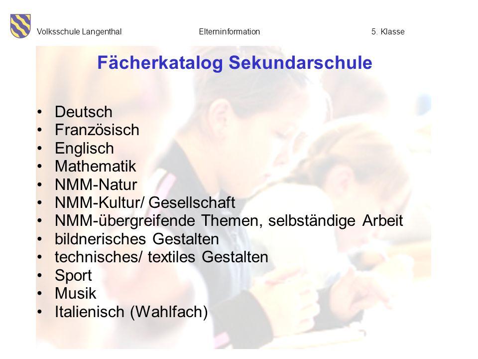 Fächerkatalog Sekundarschule