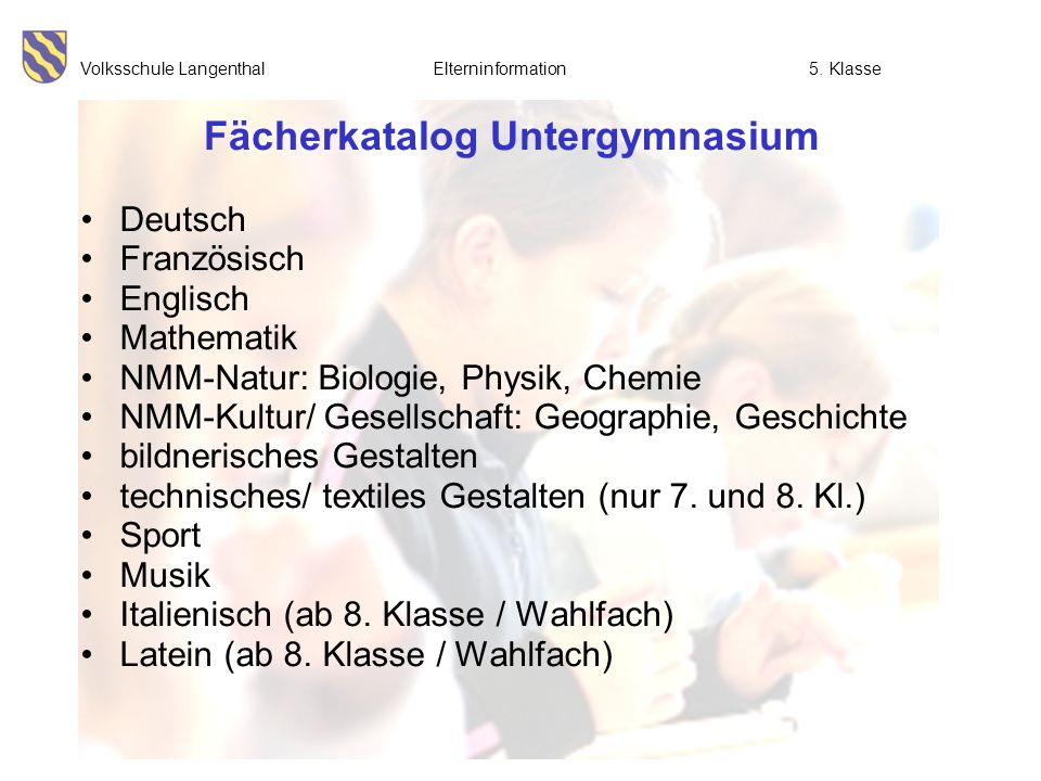 Fächerkatalog Untergymnasium