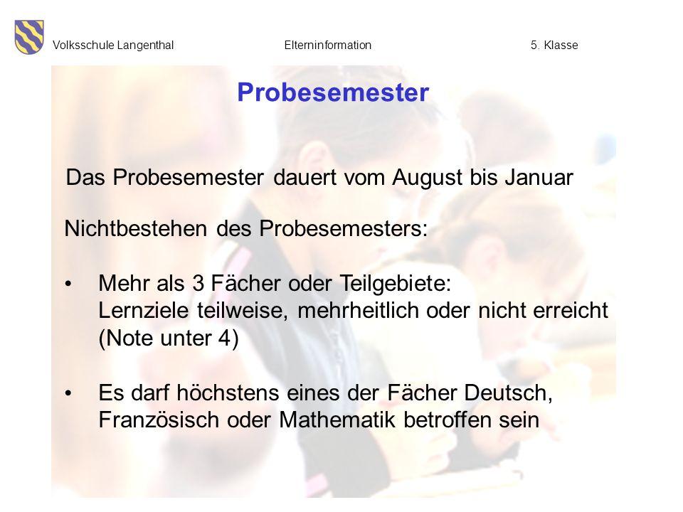 Probesemester Das Probesemester dauert vom August bis Januar
