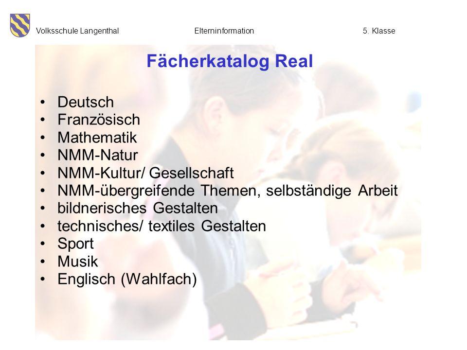 Fächerkatalog Real Deutsch Französisch Mathematik NMM-Natur