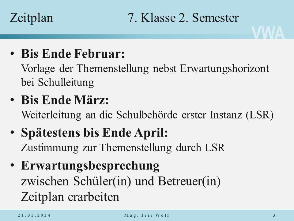 Zeitplan 7. Klasse 2. Semester