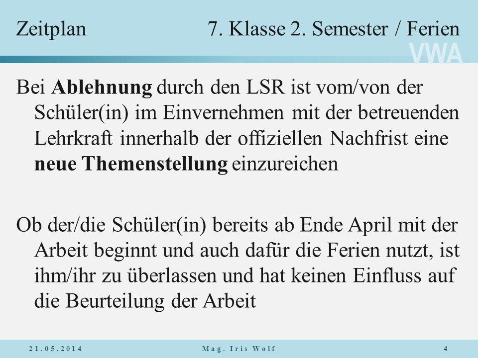 Zeitplan 7. Klasse 2. Semester / Ferien