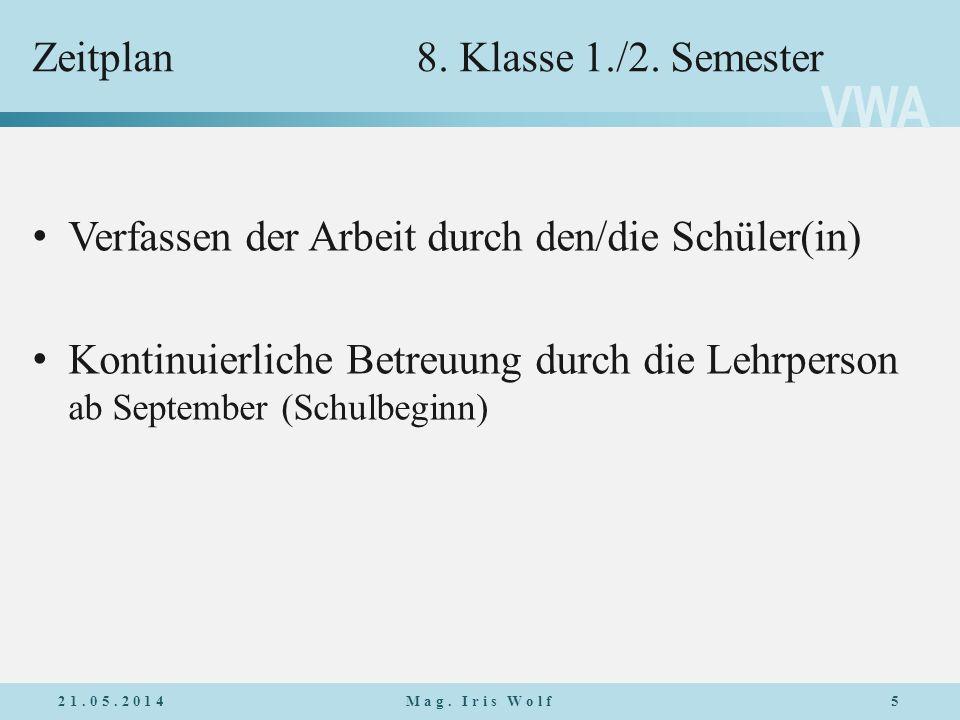 Zeitplan 8. Klasse 1./2. Semester