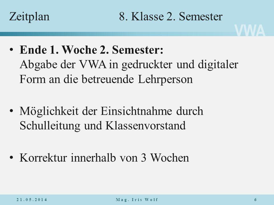 Zeitplan 8. Klasse 2. Semester