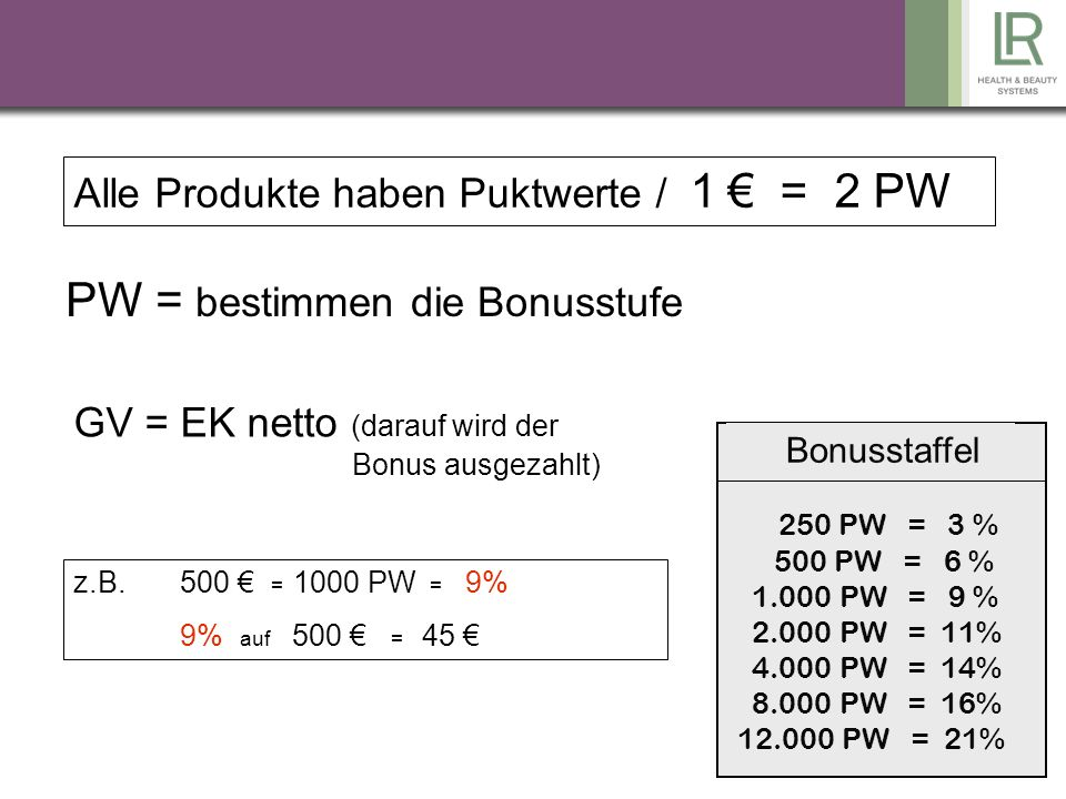 PW = bestimmen die Bonusstufe
