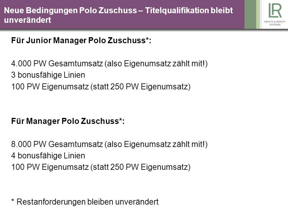 Neue Bedingungen Polo Zuschuss – Titelqualifikation bleibt unverändert