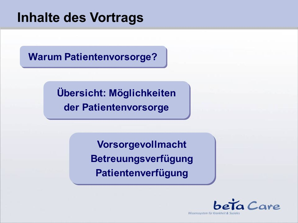 Vortrag Patientenvorsorge