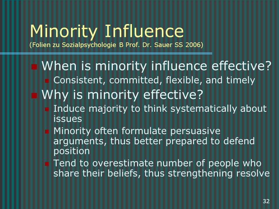 Minority Influence (Folien zu Sozialpsychologie B Prof. Dr