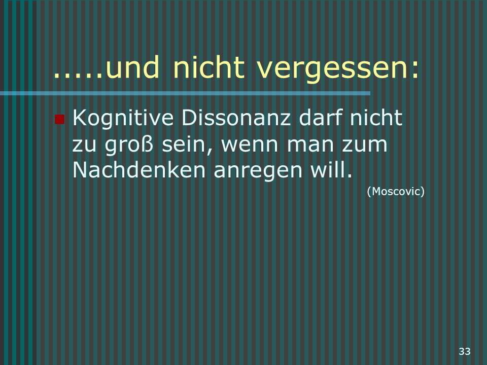 .....und nicht vergessen: Kognitive Dissonanz darf nicht zu groß sein, wenn man zum Nachdenken anregen will.