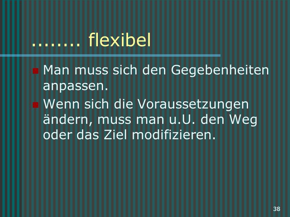 ........ flexibel Man muss sich den Gegebenheiten anpassen.