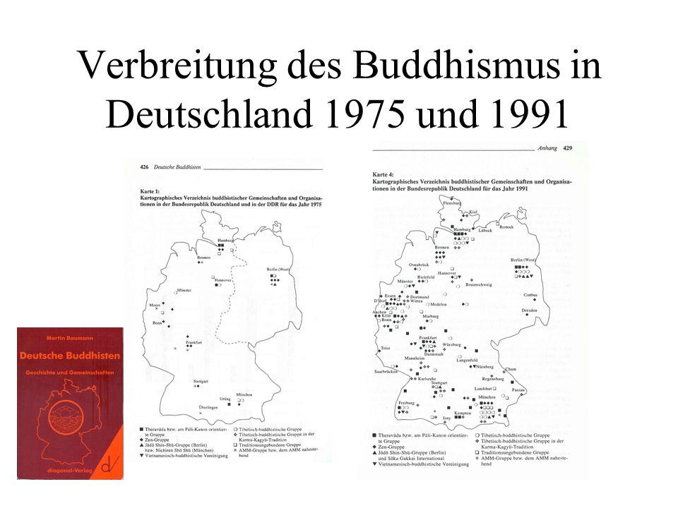 Verbreitung des Buddhismus in Deutschland 1975 und 1991