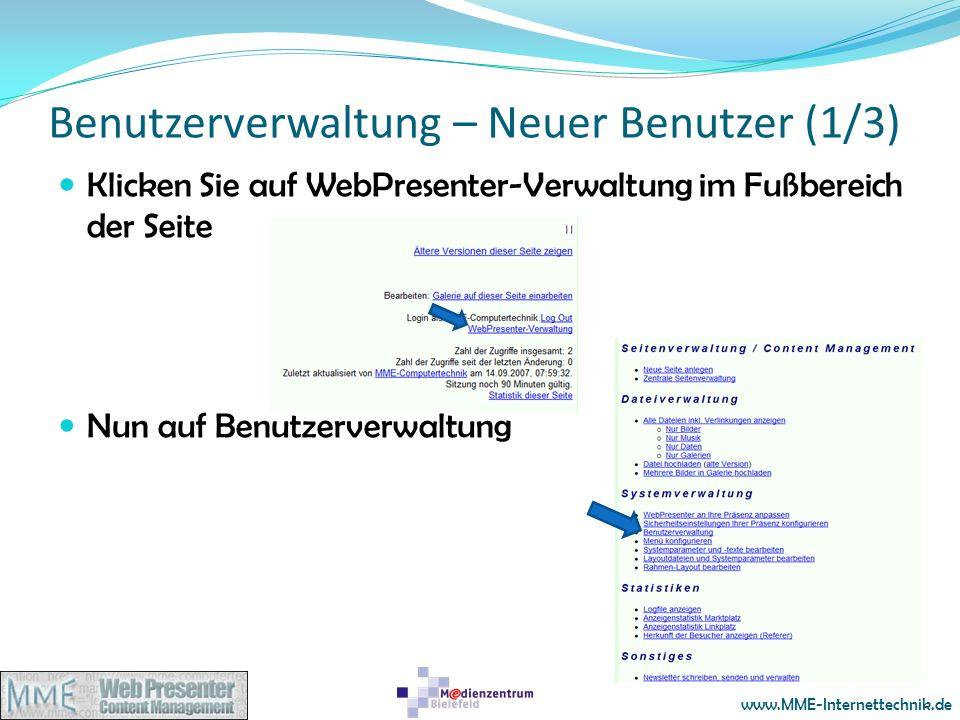 Benutzerverwaltung – Neuer Benutzer (1/3)
