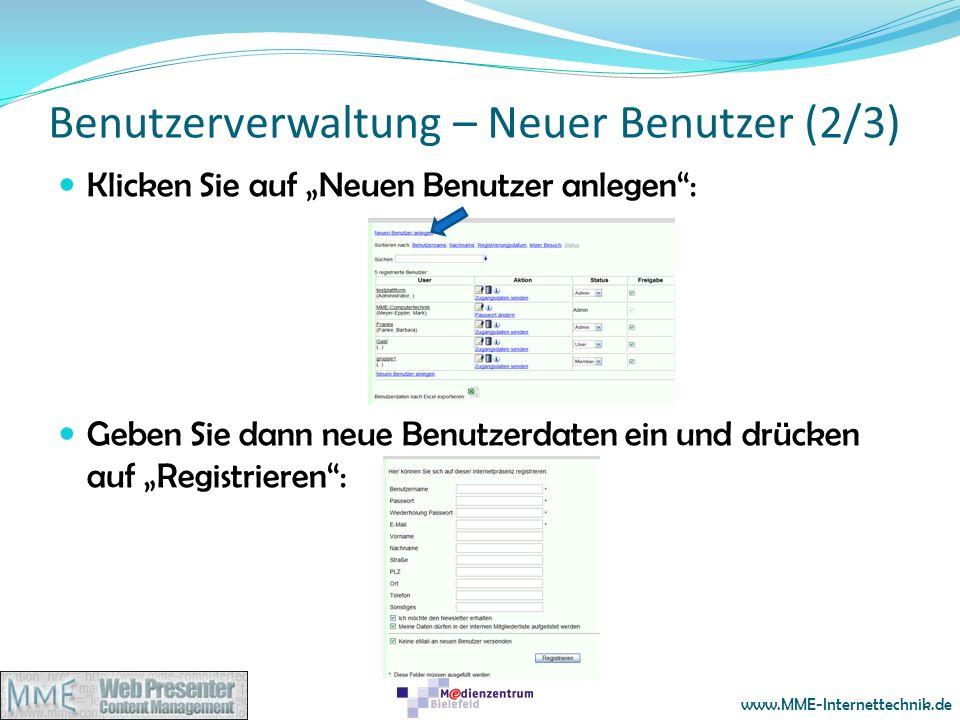 Benutzerverwaltung – Neuer Benutzer (2/3)