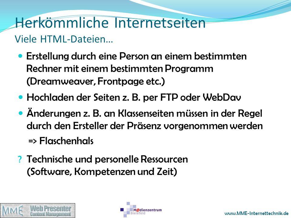 Herkömmliche Internetseiten Viele HTML-Dateien…