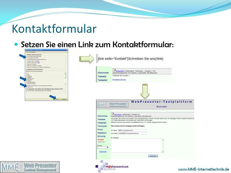 Kontaktformular Setzen Sie einen Link zum Kontaktformular:
