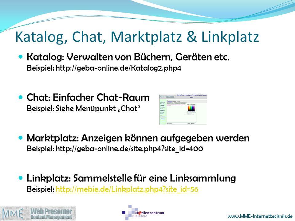 Katalog, Chat, Marktplatz & Linkplatz