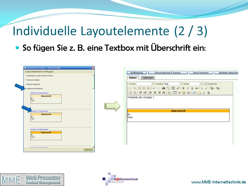 Individuelle Layoutelemente (2 / 3)