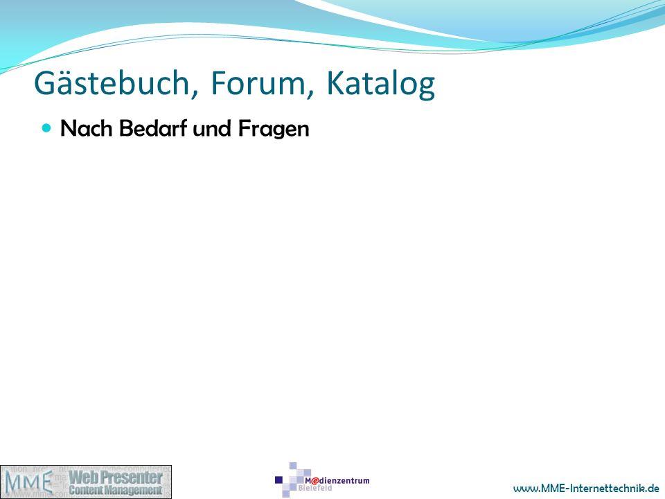 Gästebuch, Forum, Katalog