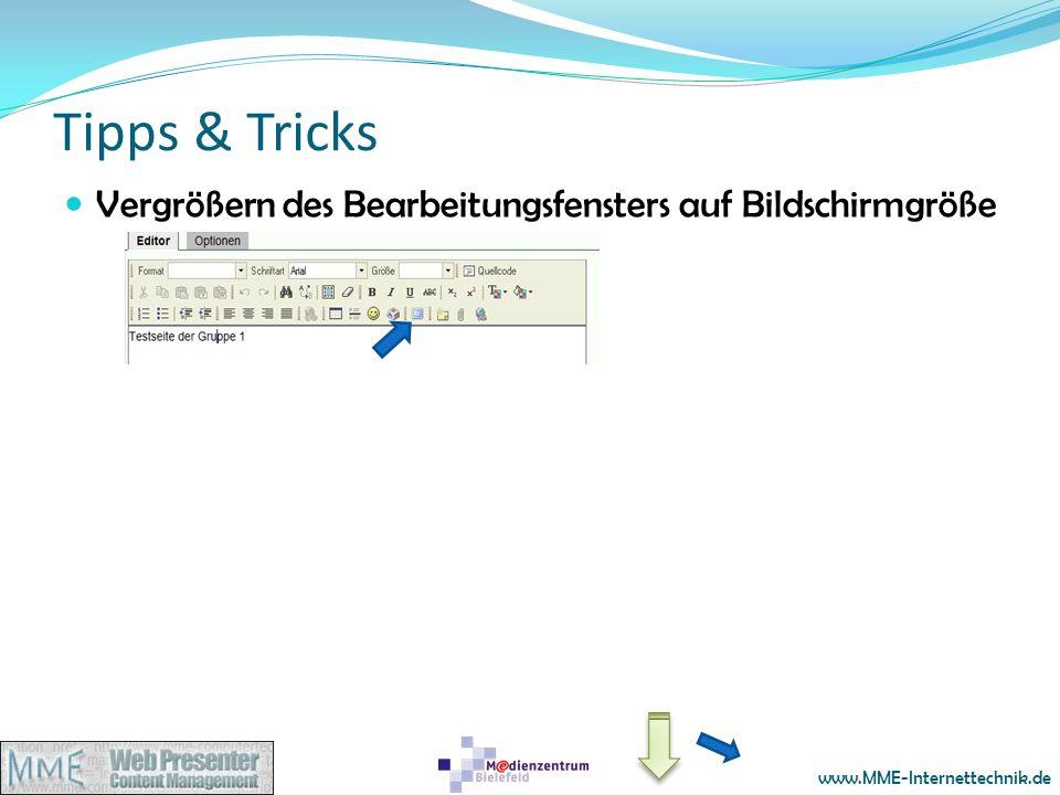 Tipps & Tricks Vergrößern des Bearbeitungsfensters auf Bildschirmgröße