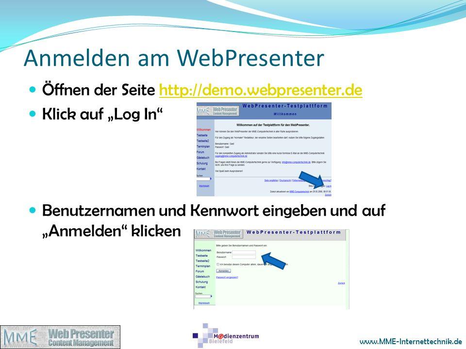 Anmelden am WebPresenter