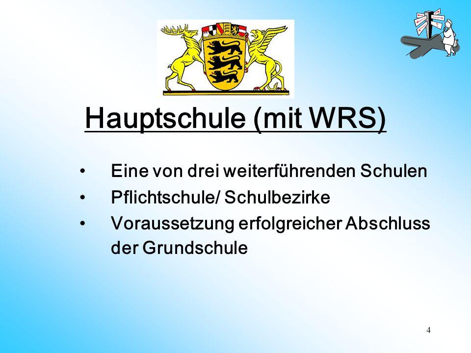 Hauptschule (mit WRS) Eine von drei weiterführenden Schulen