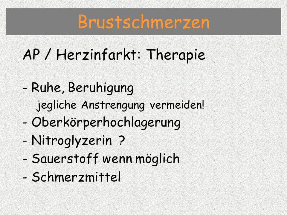 Brustschmerzen AP / Herzinfarkt: Therapie - Ruhe, Beruhigung