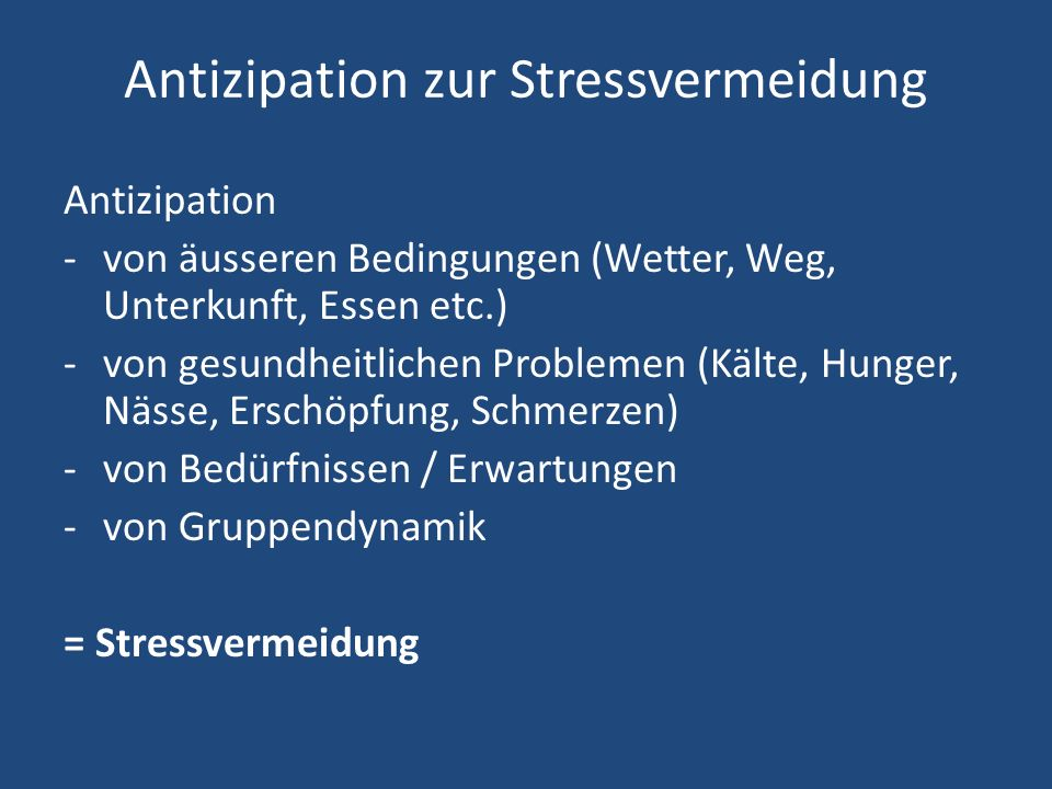 Antizipation zur Stressvermeidung