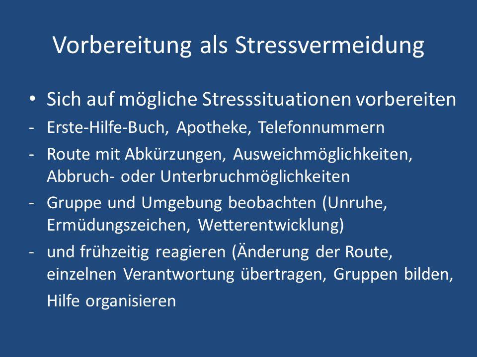 Vorbereitung als Stressvermeidung