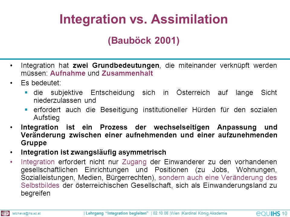 Integration vs. Assimilation (Bauböck 2001)