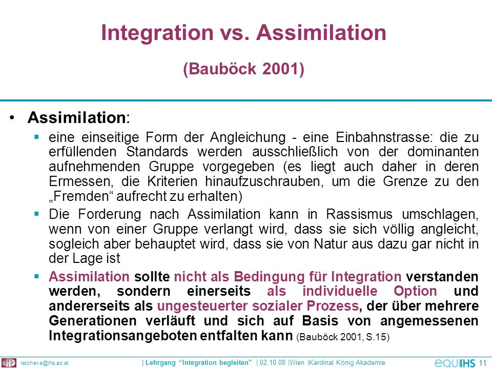 Integration vs. Assimilation (Bauböck 2001)