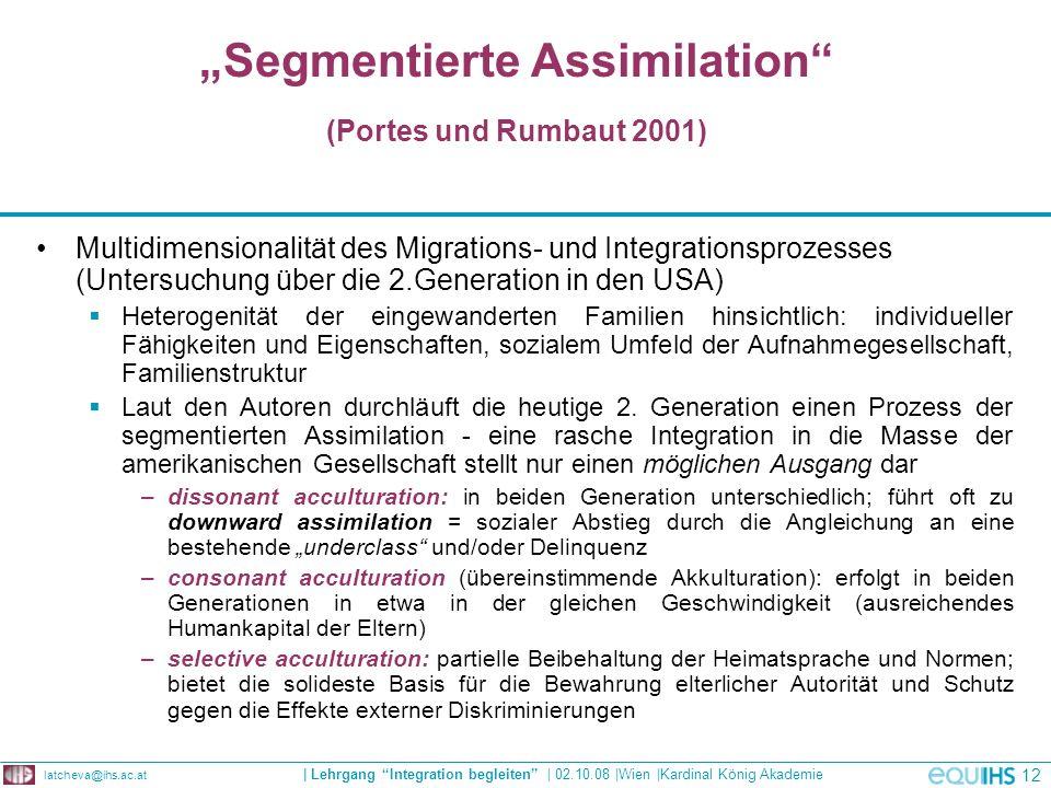 """""""Segmentierte Assimilation (Portes und Rumbaut 2001)"""
