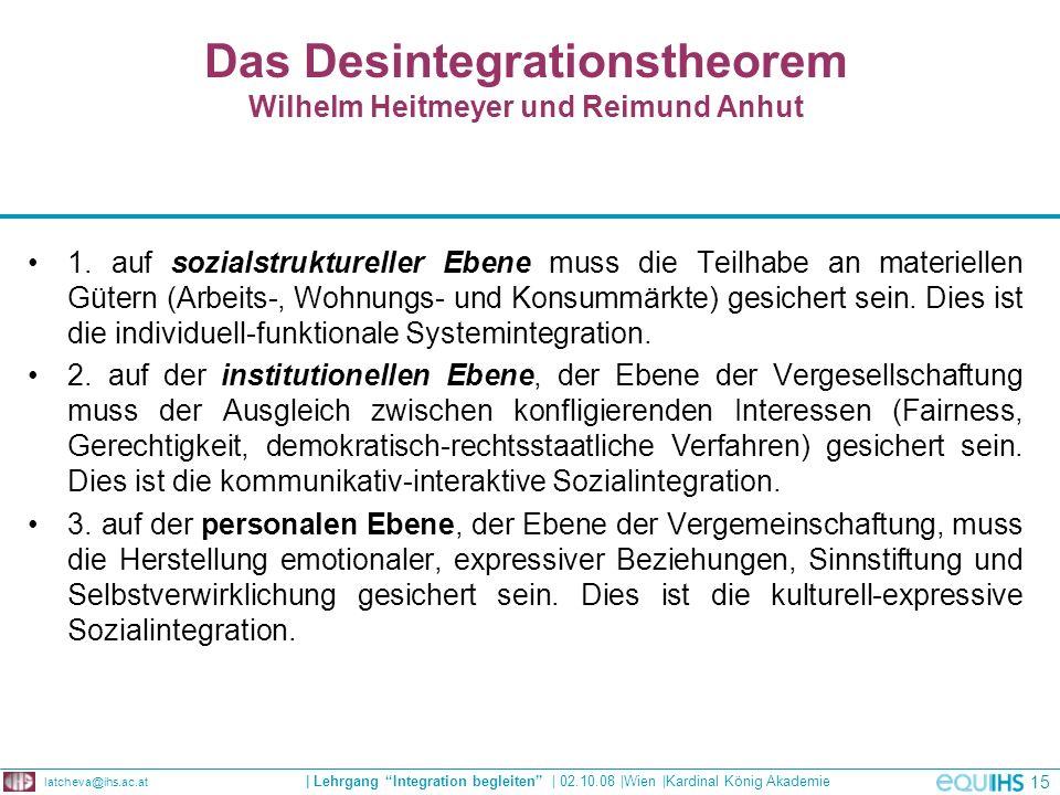 Das Desintegrationstheorem Wilhelm Heitmeyer und Reimund Anhut